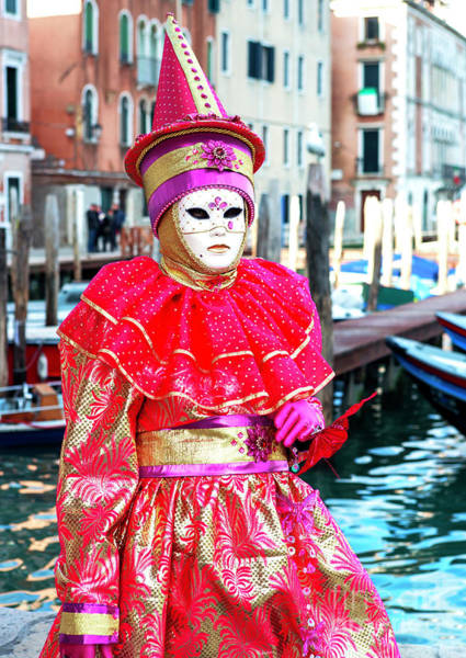 Photograph - Venice Carnival Model 2009 By The Canal by John Rizzuto