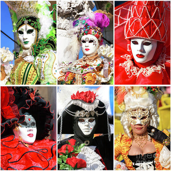 Photograph - Venice Carnival Models Collage 1 by John Rizzuto