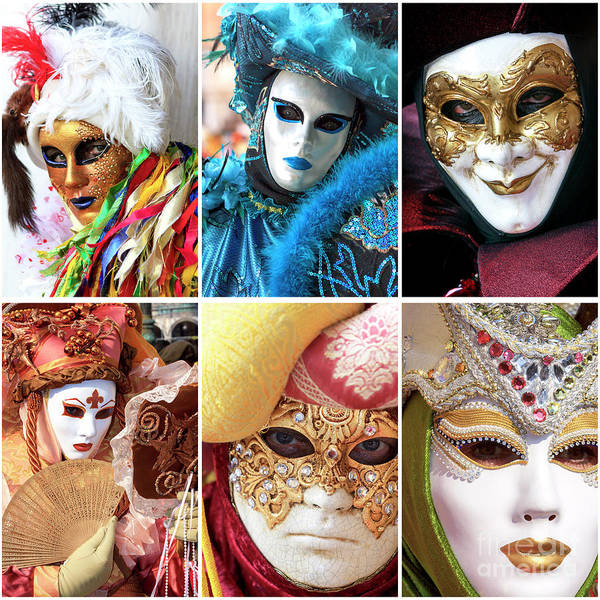 Photograph - Venice Carnival Models Collage 2 by John Rizzuto