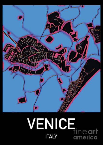 Mixed Media - Venice City Map by Helge