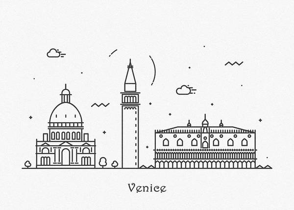 Drawing - Venice Cityscape Travel Poster by Inspirowl Design