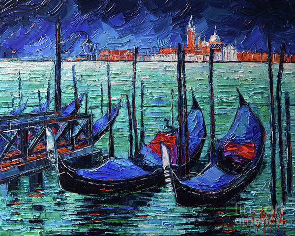 Wall Art - Painting - Venice Gondolas Modern Textural Impressionist Palette Knife Oil Painting Mona Edulesco by Mona Edulesco