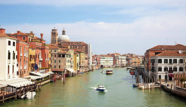 Motorboat Photograph - Venice Grand Canal Scene, Veneto Italy by Romaoslo