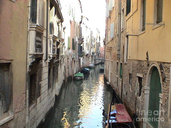 Photograph - Venice Italy Canal Water Way Gondolas Panoramic View by John Shiron