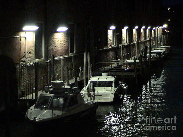 Photograph - Venice Italy Canal Waterway At Night Parked Boats Light Posts Reflection Romantic Panoramic View by John Shiron