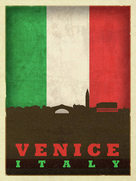 Wall Art - Mixed Media - Venice Italy City Skyline Flag by Design Turnpike