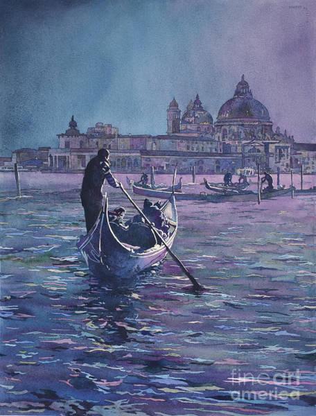 Wall Art - Painting - Venice Italy Gondolier And Church Of Santa Maria Della Salute Mo by Ryan Fox