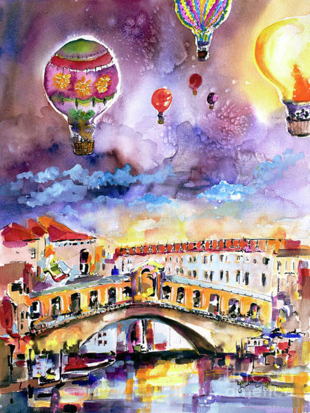 Painting - Venice Italy Rialto Bridge With Balloons by Ginette Callaway