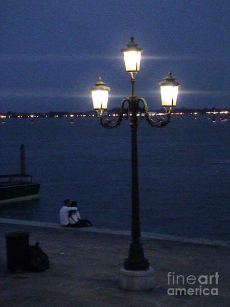 Photograph - Venice Italy San Marco Square Pier Promenade At Sunset Light Pole Romantic Couple Panoramic View by John Shiron