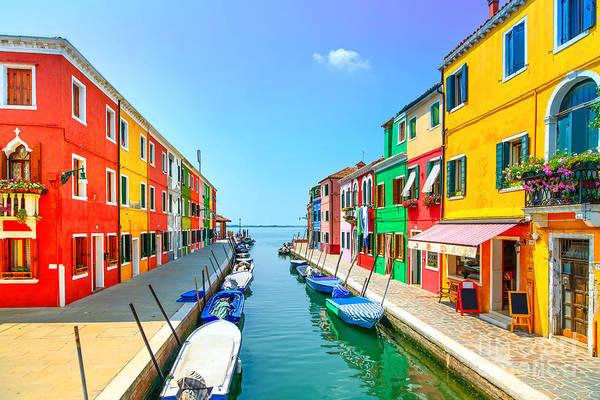 Venice Landmark, Burano Island Canal Art Print