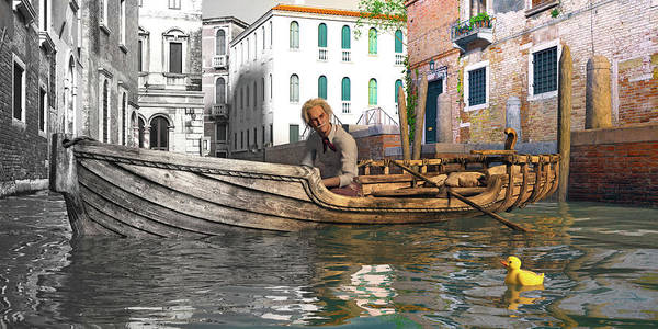 Wall Art - Digital Art - Venice Pause In The Evening by Betsy Knapp