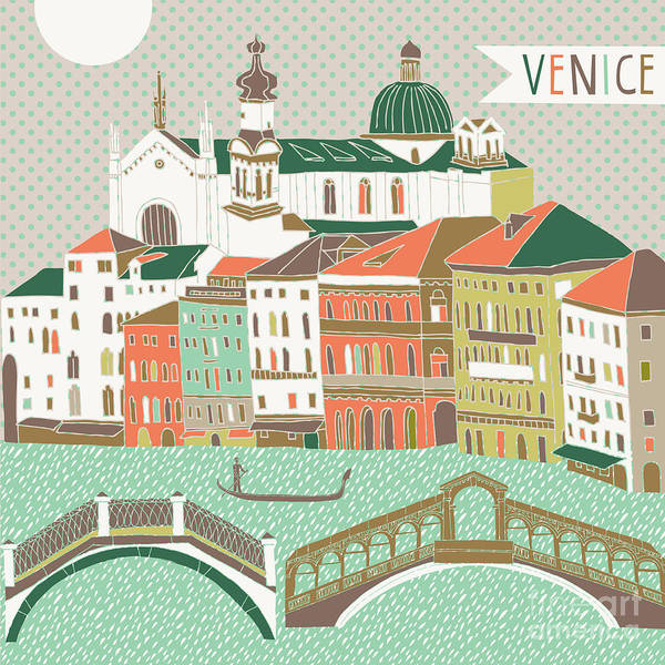 Wall Art - Digital Art - Venice Print Design by Lavandaart