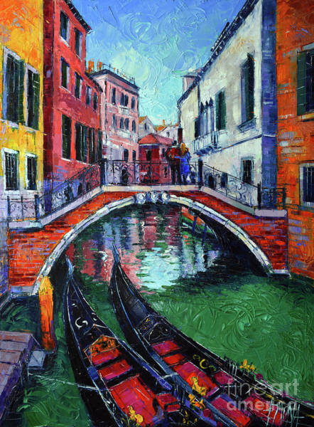 Wall Art - Painting - Venice Romance Impressionist Modern Palette Knife Oil Painting Cityscape by Mona Edulesco