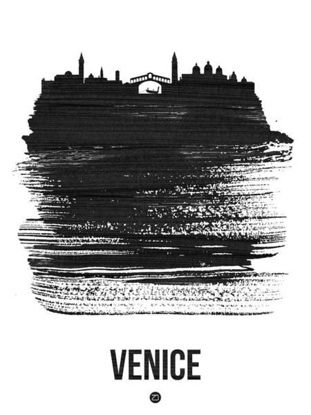 Wall Art - Mixed Media - Venice Skyline Brush Stroke Black by Naxart Studio