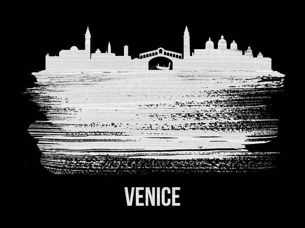 Wall Art - Mixed Media - Venice Skyline Brush Stroke White by Naxart Studio