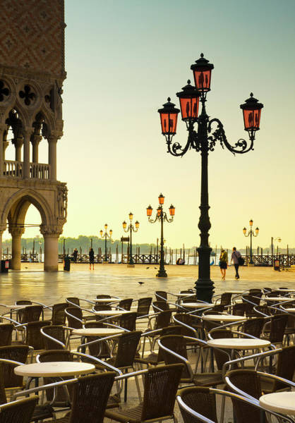 Sidewalk Cafe Photograph - Venice, St. Marks Square And Doges by Alan Copson