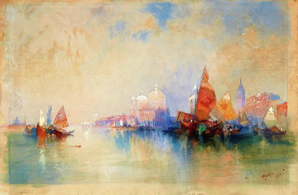 Wall Art - Painting - Venice, The Lagoon Looking Toward Santa Maria Della Salute - Digital Remastered Edition by Thomas Moran