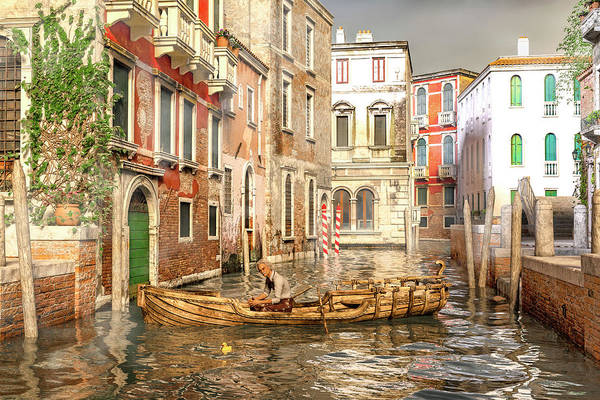 Wall Art - Digital Art - Venice The Little Yellow Duck by Betsy Knapp