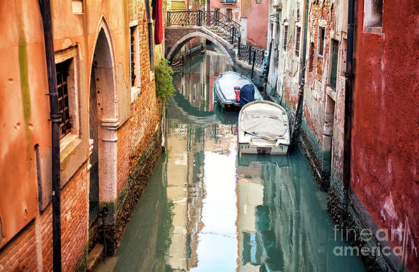 Photograph - Venice Two Boats On The Canal by John Rizzuto