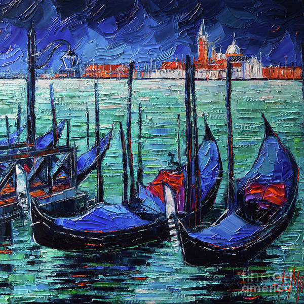 Wall Art - Painting - Venice Two Gondolas by Mona Edulesco