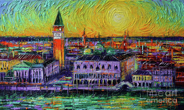 Moon Shadow Painting - Venice View From San Giorgio Maggiore Oil Painting Mona Edulesco by Mona Edulesco