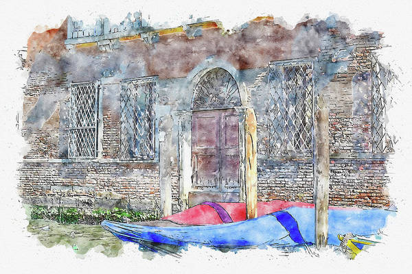 Patina Digital Art - Venice #watercolor #sketch #venice #europe by TintoDesigns