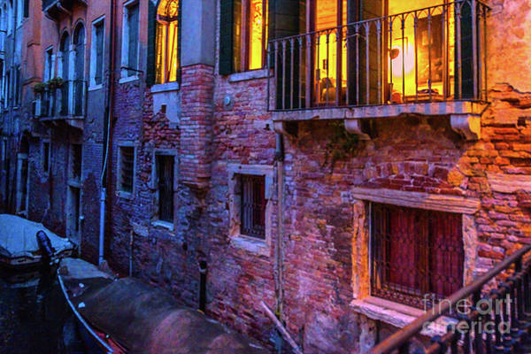 Photograph - Venice Windows At Night by Marina Usmanskaya