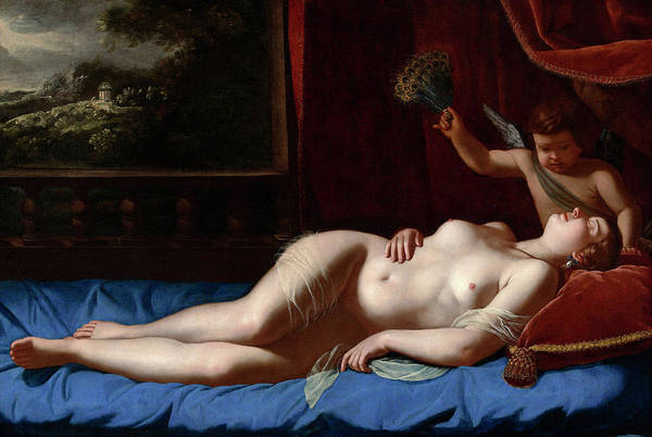 Fertility Painting - Venus And Cupid by Artemesia Gentileschi
