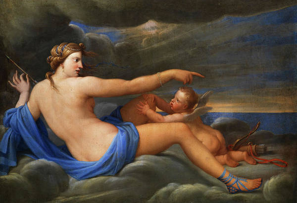God Of War Wall Art - Painting - Venus And Cupid by French painter of the 18th century