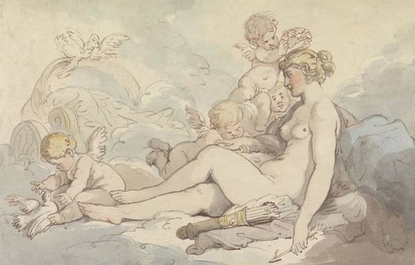 Drawing - Venus Crowned By Cupid by Thomas Rowlandson
