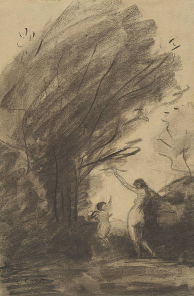 Wall Art - Drawing - Venus Disarming Cupid by Jean-Baptiste-Camille Corot