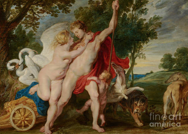 Wall Art - Painting - Venus Trying To Restrain Adonis From Departing For The Hunt by Rubens