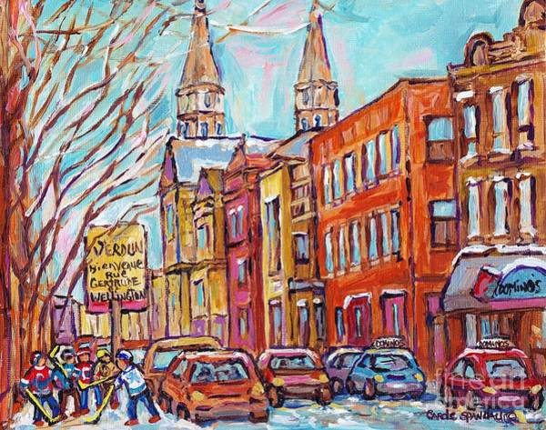 Painting - Verdun Montreal Winter Street Hockey Game Corner Gertrude And Wellington Near Church C Spandau Art by Carole Spandau