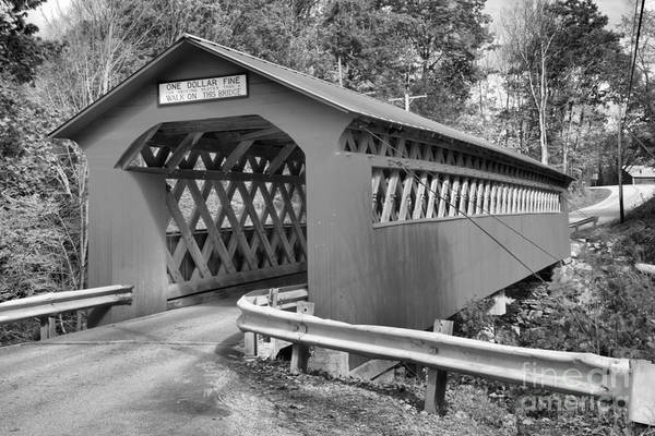 Photograph - Vermont Chiselville Covered Bridge Black And White by Adam Jewell