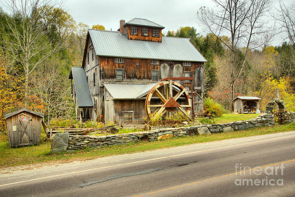 Photograph - Vermont Grist Mill By The Road by Adam Jewell