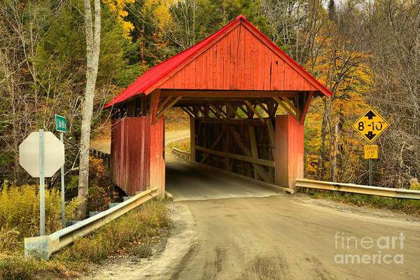Photograph - Vermont Red Covered Bridge by Adam Jewell