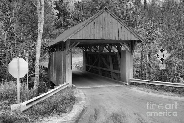 Photograph - Vermont Red Covered Bridge Black And White by Adam Jewell