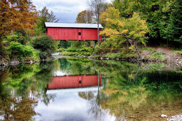 Photograph - Vermont Red Covered Bridge by Jeff Folger