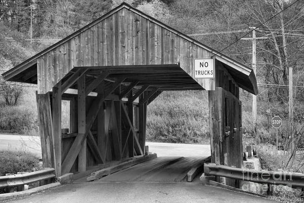 Photograph - Vermont School Road Covered Bridge Black And White by Adam Jewell