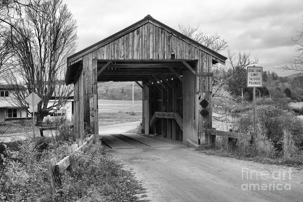 Photograph - Vermont Scribner Covered Bridge Black And White by Adam Jewell