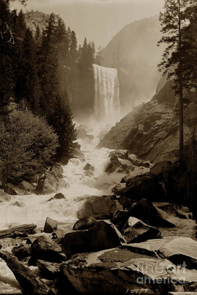 Photograph - Vernal Fall 317 Feet  Yosemite Valley Circa 1921 by California Views Archives Mr Pat Hathaway Archives