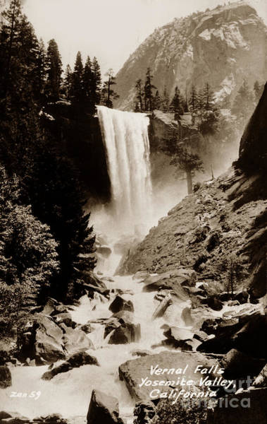 Photograph - Vernal Falld, Yosemite Valley, California  Circa 1930 by California Views Archives Mr Pat Hathaway Archives