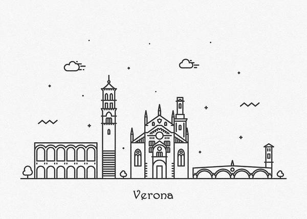 Drawing - Verona Cityscape Travel Poster by Inspirowl Design