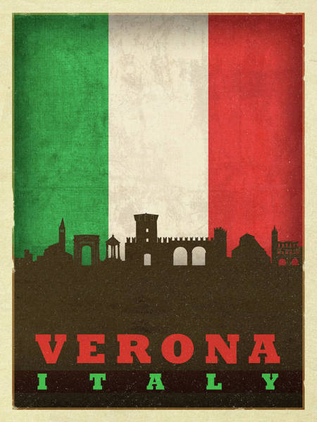 Wall Art - Mixed Media - Verona Italy City Skyline Flag by Design Turnpike