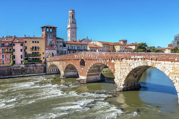 Wall Art - Photograph - Verona's Ponte Pietra Or Stone Bridge by W Chris Fooshee