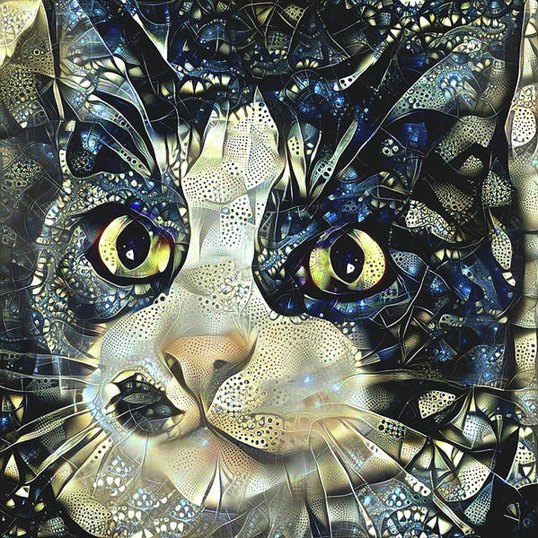 Digital Art - Versacci The Black And White Rescue Cat by Peggy Collins