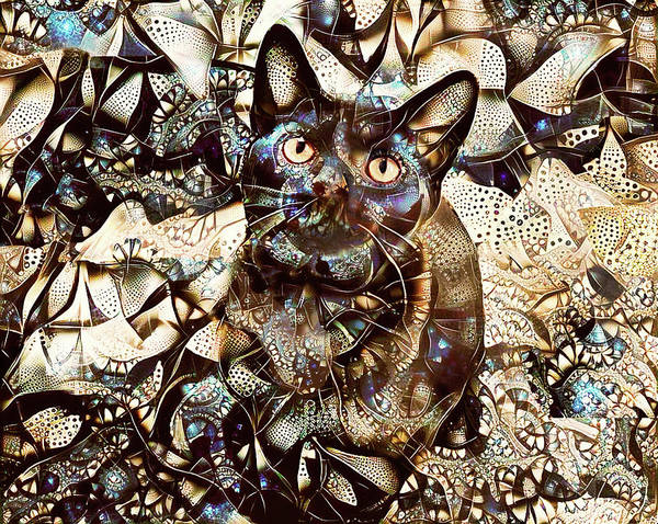 Digital Art - Versace The Black Cat by Peggy Collins