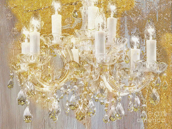 Wall Art - Painting - Versailles, French Shabby Glam Chandelier by Tina Lavoie