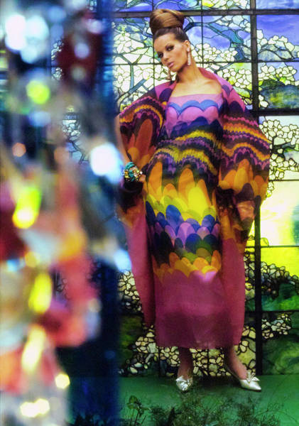 Photograph - Veruschka In Rainbow Print Gown by Gordon Parks