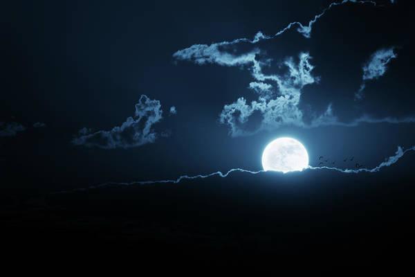 Wall Art - Photograph - Very Bright Moonrise Over Cloud Bank by Ricardoreitmeyer
